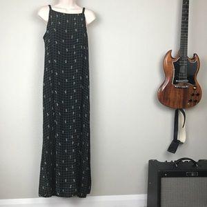 VTG 90s 100% rayon high neck grunge maxi dress